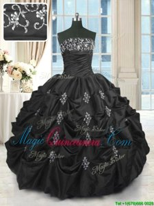 Black Sleeveless Beading and Lace and Appliques and Pick Ups Floor Length Vestidos de Quinceanera