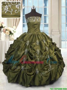 Cheap Pick Ups Strapless Sleeveless Lace Up Sweet 16 Quinceanera Dress Olive Green Taffeta