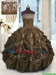 Latest Strapless Sleeveless Vestidos de Quinceanera Floor Length Beading and Appliques and Embroidery and Pick Ups Chocolate Taffeta
