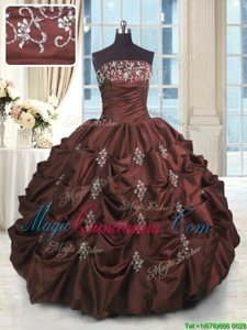 Charming Burgundy Strapless Neckline Beading and Appliques and Embroidery and Pick Ups Quinceanera Dress Sleeveless Lace Up