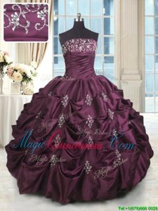 Luxurious Beading and Appliques and Embroidery and Pick Ups Quinceanera Dresses Purple Lace Up Sleeveless Floor Length