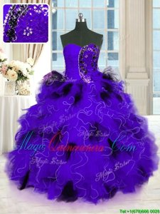 Black And Purple Tulle Lace Up Strapless Sleeveless Floor Length Quinceanera Dress Beading and Ruffles