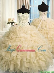 Stylish Sleeveless Floor Length Beading and Ruffles Lace Up Sweet 16 Dresses with Champagne