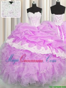 Lilac Sweetheart Neckline Beading and Appliques and Ruffles and Pick Ups Quinceanera Dresses Sleeveless Lace Up