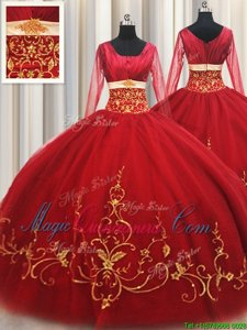 Deluxe Square Long Sleeves Zipper Floor Length Beading and Embroidery Sweet 16 Dresses