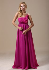 One Shoulder Dama Dresses In Fuchsia with Hand Made Flowers