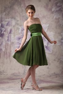 Olive Green Chiffon Short Dama Quinceanera Dress with Sashes