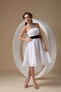 White Strapless Knee-length Chiffon with Sash Dama Dress in Cambridge