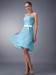 Aqua Blue Strapless Knee-length Chiffon Dresses for Damas in Dunedin
