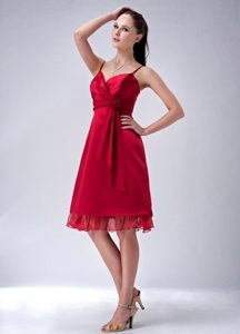 Wine Red Spaghetti Straps Knee-length Dama Dress in Backband Germany