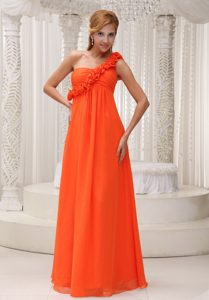 Orange One Shoulder Floor-length Chiffon Dresses for Damas in Chester