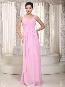 Baby Pink Straps Floor-length Chiffon Dresses for Damas in Buckden