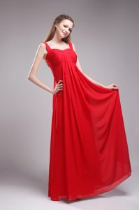 Red Straps Empire Floor-length Chiffon Dama Dresses in Melbourn