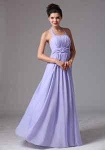 Lilac Halter Floor-length Chiffon Dama Dresses for Quinceanera in Paris