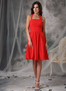 Discount Red Halter Empire Chiffon Quinceanera Dama Dresses in London