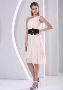 Champagne One Shoulder Chiffon Dama Dress with Black in Sash