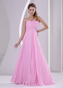 Discount Pink One Shoulder Pleat Chiffon Dama Dresses in Belfast