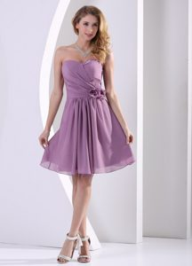 Cheap Purple Strapless Knee-length Chiffon Dama Dresses in London