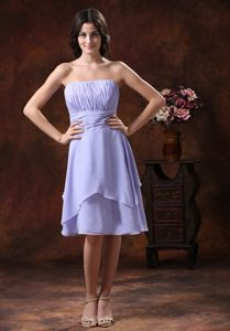 Lilac Strapless Knee-length Chiffon Dama Dresses in Chester