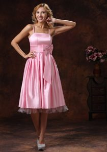 Baby Pink Spaghetti Straps Dama Dresses with Sash in Wellington