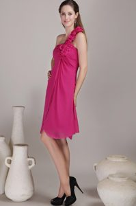 Flowers Accent One Shoulder 15 Dresses for Damas in Fuchsia Color