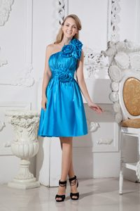 Flowery One Shoulder Ruched Quinceanera Dama Dresses in Sky Blue