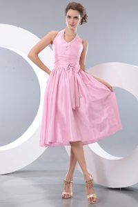 Rose Pink Empire Halter Dama Quinceanera Dresses with Sash Beading