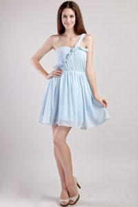 Light Blue One Shoulder Chiffon Mini Length Dresses for Damas
