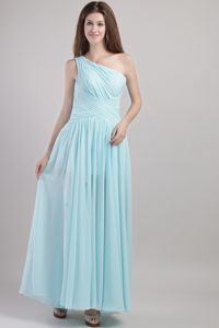 Mint One Shoulder Ruches Ankle Length Dresses for Damas in Carolina