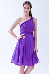 Ruched One Shoulder Chiffon Quinceanera Dama Dresses Knee Length