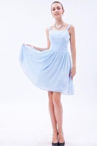 Ruched Light Blue Chiffon Quinceanera Dama Dresses with Straps