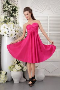 Hot Pink Empire Taffeta Quinceanera Dama Dresses with Ruches 2013