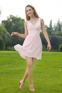 Baby Pink V-neck Mini Length Chiffon Dama Dress in Bayamon 2013