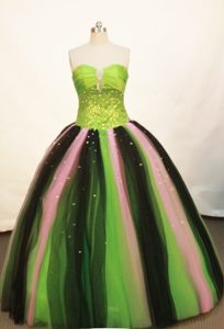Strapless Multi-colored Sequined Dresses For a Quince 2013