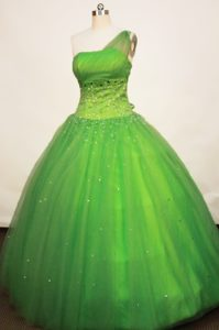 Tulle Spring Green One Shoulder Quinceanera Dress Sequined