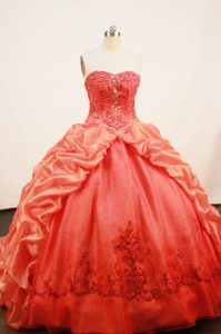 Brush Train Orange Cheap Quinceanera Gown with Embroidery