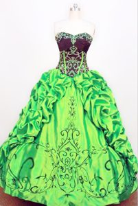 Taffeta Pick-ups Strapless Green Beading Quinceanera Dress