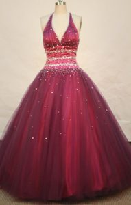 Crisscross Back V-neck Quinceanera Dresses in Red Beaded