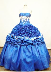 Strapless Blue Quinceanera Dress with Appliques and Ruffle
