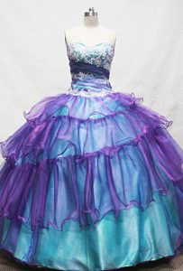 Teal and Purple Layered Sweet Sixteen Dress with Appliques