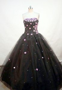 Black Appliques A-line Strapless Quinceanera Gown Sequined