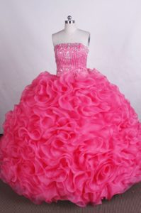 Beaded Strapless Hot Pink Quinceanera Dresses with Ruffles