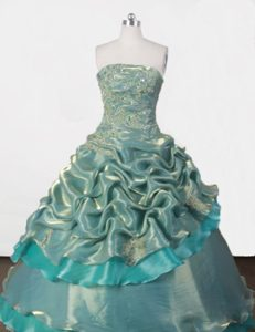 Green Organza Strapless Quinceanera Gowns with Appliques