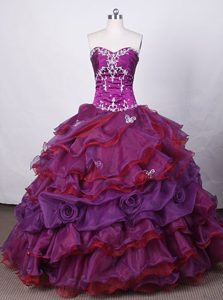 Hand Made Flower Purple Quince Dress with Applique Beading