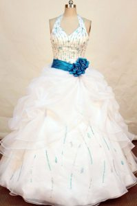 Chic Beaded halter top white Dress 15 with Turquoise sash