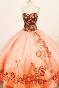 Rust Red sweetheart Quinceanera Dress with Embroidery 2013