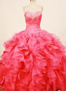 Ruffles Coral Red sweetheart beaded Dress For Quinceanera