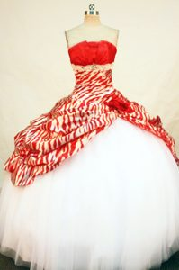 Zebra Red and White Hand Made Flower Quinceanera Dresses