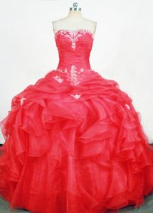 Red Ruffled Appliques Quinceanera Dresses Ruched for Cheap