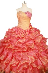 Ruched Two-toned Ruffled Quinceanera Dresses with Flowers